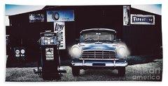60s Australian Fc Holden Parked At Old Garage Beach Towel