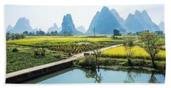 Rice Fields Scenery In Autumn Beach Towel