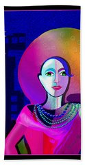 646 - Elegant Lady Pink And Blue 2017 Beach Towel by Irmgard Schoendorf Welch