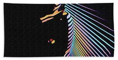 6580s-nlj Woman In Shadows By Window Zebra Striped Rendered In Composition Style Beach Towel