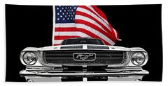 66 Mustang With U.s. Flag On Black Beach Towel