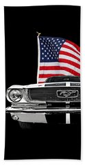 66 Mustang With U.s. Flag On Black Beach Sheet
