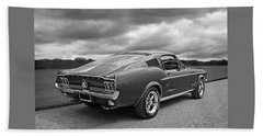67 Fastback Mustang In Black And White Beach Towel