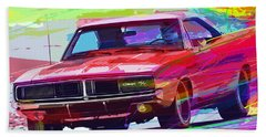69 Dodge Charger  Beach Towel