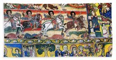 Ancient Orthodox Church Interior Painted Walls In Gondar Ethiopi Beach Towel