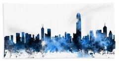 Hong Kong Skyline Beach Sheet by Michael Tompsett
