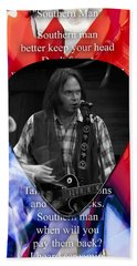 Neil Young Art Beach Towel by Marvin Blaine