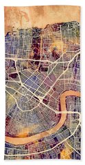 New Orleans Street Map Beach Towel