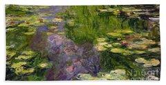 Waterlilies Beach Towel by Claude Monet