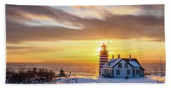 Beach Towel featuring the photograph West Quoddy Head Lighthouse by Trace Kittrell
