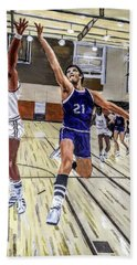 Beach Towel featuring the painting 70's Layup by Kevin Daly