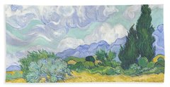 A Wheat Field With Cypresses Beach Towel