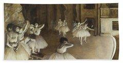 Ballet Rehearsal On Stage Beach Sheet