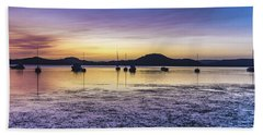 Dawn Waterscape Over The Bay With Boats Beach Sheet