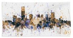Beach Sheet featuring the digital art Oklahoma City Skyline by Michael Tompsett