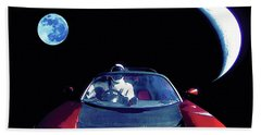 Starman In Tesla Roadster With Planet Earth Traveling In The Space Beach Towel