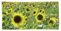 Sunflowers Mattituck New York Beach Sheet by Bob Savage