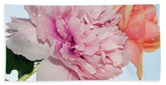 Two Flowers Beach Towel by Elvira Ladocki