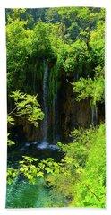 Waterfall In Plitvice National Park In Croatia Beach Towel
