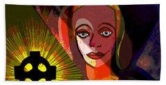 Beach Sheet featuring the digital art 863 - A Celtic Cross by Irmgard Schoendorf Welch