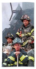 9/11 Firefighters Beach Sheet by Kai Saarto