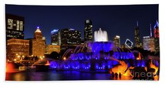 Beach Sheet featuring the photograph 911 Tribute At Buckingham Fountain, Chicago by Zawhaus Photography