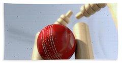 Cricket Ball Hitting Wickets Beach Towel