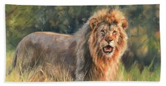 Beach Towel featuring the painting Lion by David Stribbling
