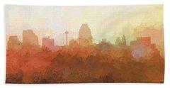 Beach Towel featuring the digital art San Antonio Texas Skyline by Marlene Watson