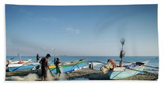 Traditional Fishing Boats On Dili Beach In East Timor Leste Beach Towel