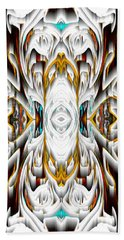 Beach Towel featuring the digital art 992.042212mirror2ornateredagold-1a-1 by Kris Haas