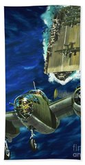 A B52 Bomber Takes Off From An Aircraft Carrier Headed For Japan In World War II Beach Towel by Wilf Hardy