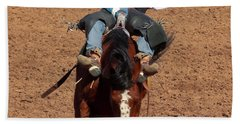 A Bareback Rider Aboard A Bronco, Tucson, Arizona Beach Towel