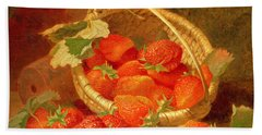 A Basket Of Strawberries On A Stone Ledge Beach Towel