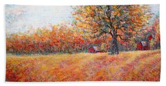 Beach Sheet featuring the painting A Beautiful Autumn Day by Natalie Holland