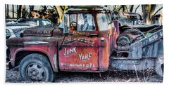 A Beautiful Rusty Old Tow Truck Beach Towel