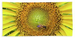 A Bee On A Sunflower Beach Sheet