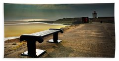 A Bench By The Sea Beach Towel