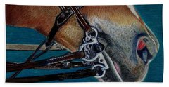 A Bit Of Control - Horse Bridle Painting Beach Towel