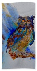 Beach Towel featuring the painting A Blue Mood Owl Cropped by Beverley Harper Tinsley