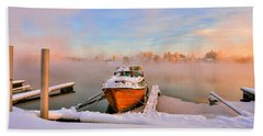 Boat On Frozen Lake Beach Sheet