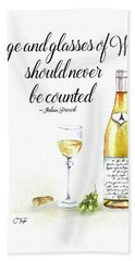 A Bottle Of White Wine Beach Towel by Colleen Taylor