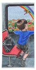 A Boy On The Bus Beach Towel