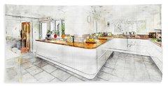 A Bright White Kitchen Beach Sheet