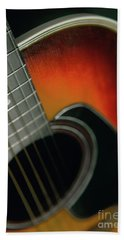 Beach Sheet featuring the photograph  Guitar  Acoustic Close Up by Bruce Stanfield