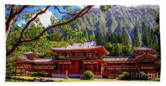 Beach Towel featuring the photograph Buddhist Temple - Oahu, Hawaii - by D Davila