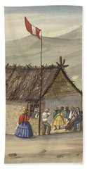 Beach Towel featuring the painting A Cane Rancho Or Hut Erected For The Purpose Of Dancing Lima Costumes, Ca. 1853 ,fierro, Pancho,  by Artistic Panda