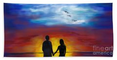 Beach Towel featuring the painting A Captivating Love by Leslie Allen