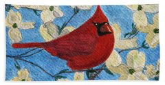 Beach Sheet featuring the painting A Cardinal Spring by Angela Davies