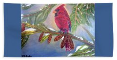 A Cardinal's Sweet And Savory Song Of Winter Thawing Painting Beach Towel